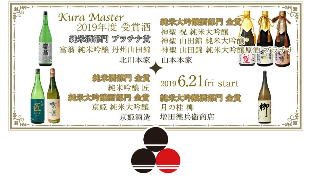 屋台村「伏水酒蔵小路」(京都市伏見区)が、日本酒コンクール「Kura Master 2019」で受賞した京都・伏見の全銘柄を6月21日(金)より提供する旨の告知画像