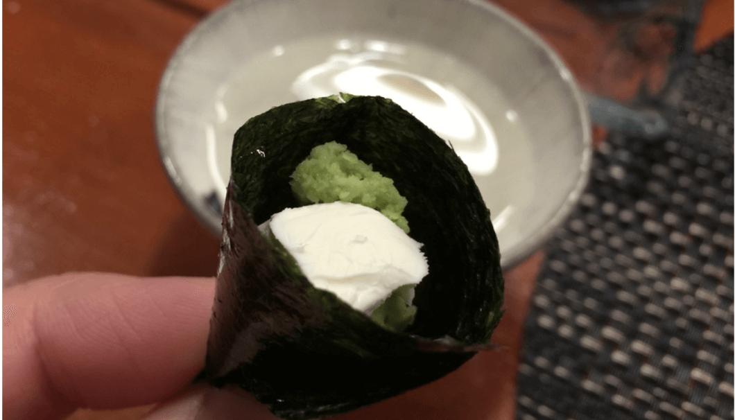 わさびとクリームチーズの海苔巻き