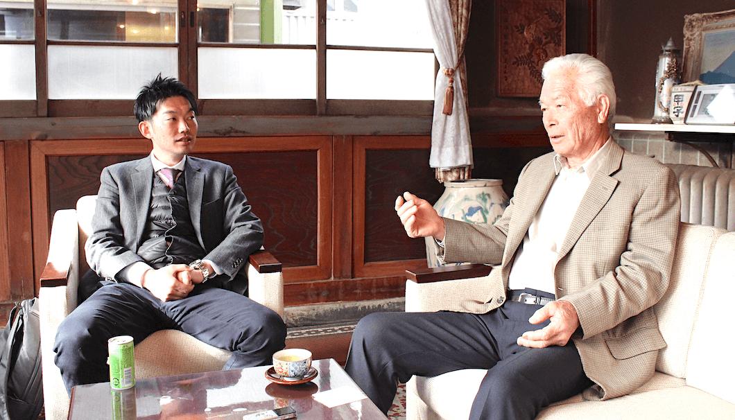 酒々井町酒米組合の組合長・齊藤一郎さんと飯沼本家の飯沼一喜さん
