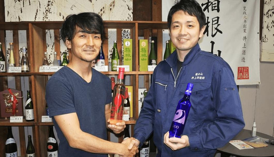 株式会社ライスワインの酒井さんと、井上酒造 杜氏の湯浅さん(右)