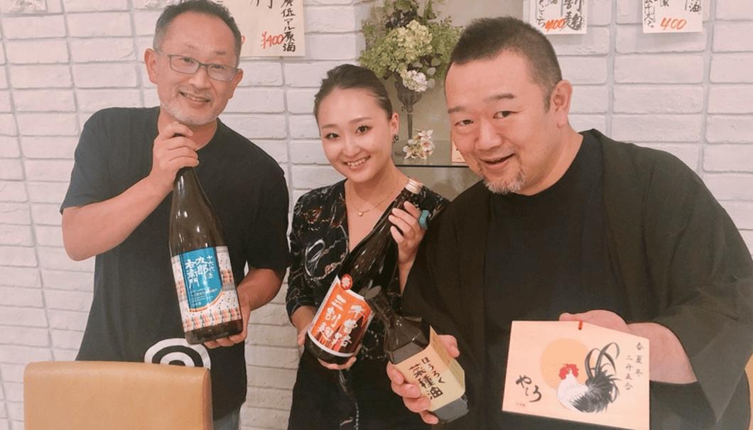 長野・湯川酒造店の湯川さん(左端)と、「肴糀醸 やしろ」の店長・武藤さん(右端)