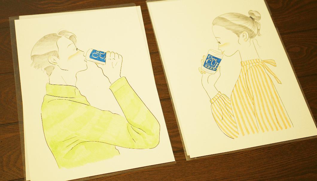 「ワンカップ大関」のために描かれた、たなかみさきさんのイラスト