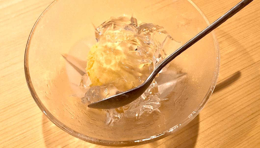 自家製マンゴーアイスとレモンジュレ
