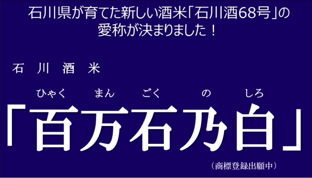 酒米新品種「石川酒68号」愛称決定