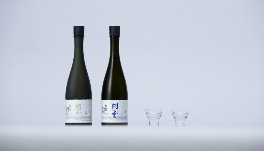 (左)「白鶴 翔雲 純米大吟醸 自社栽培米白鶴錦 」、(右)「白鶴 翔雲 純米吟醸 白鶴錦 」