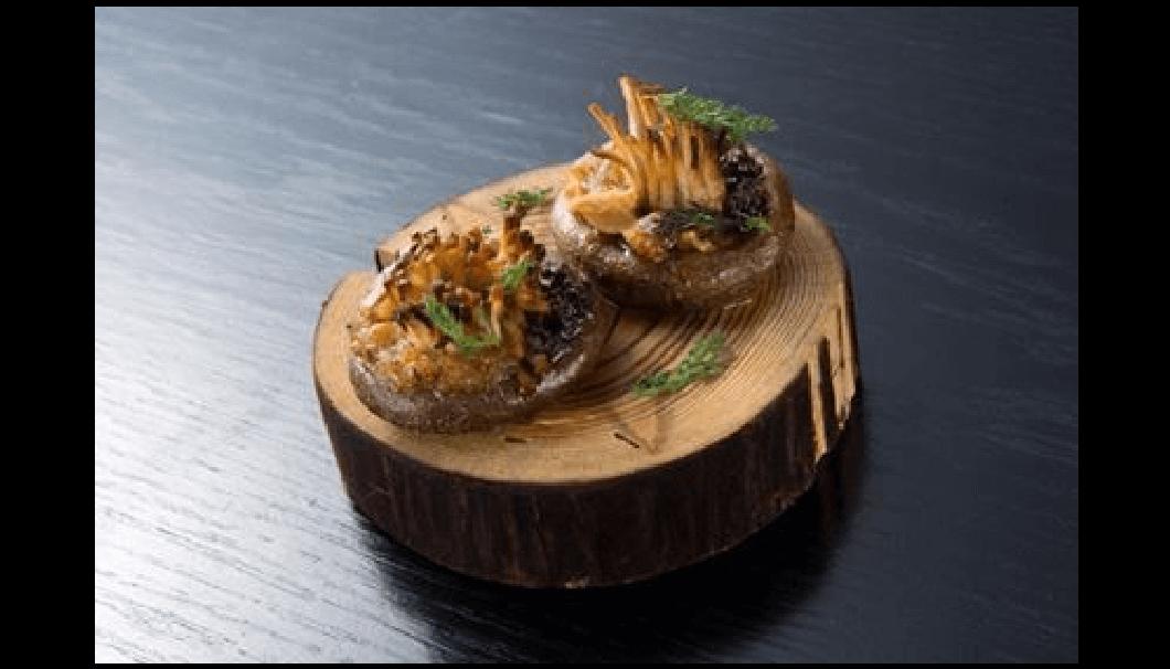 「百光」に合わせる料理「椎茸のネギ味噌焼き」