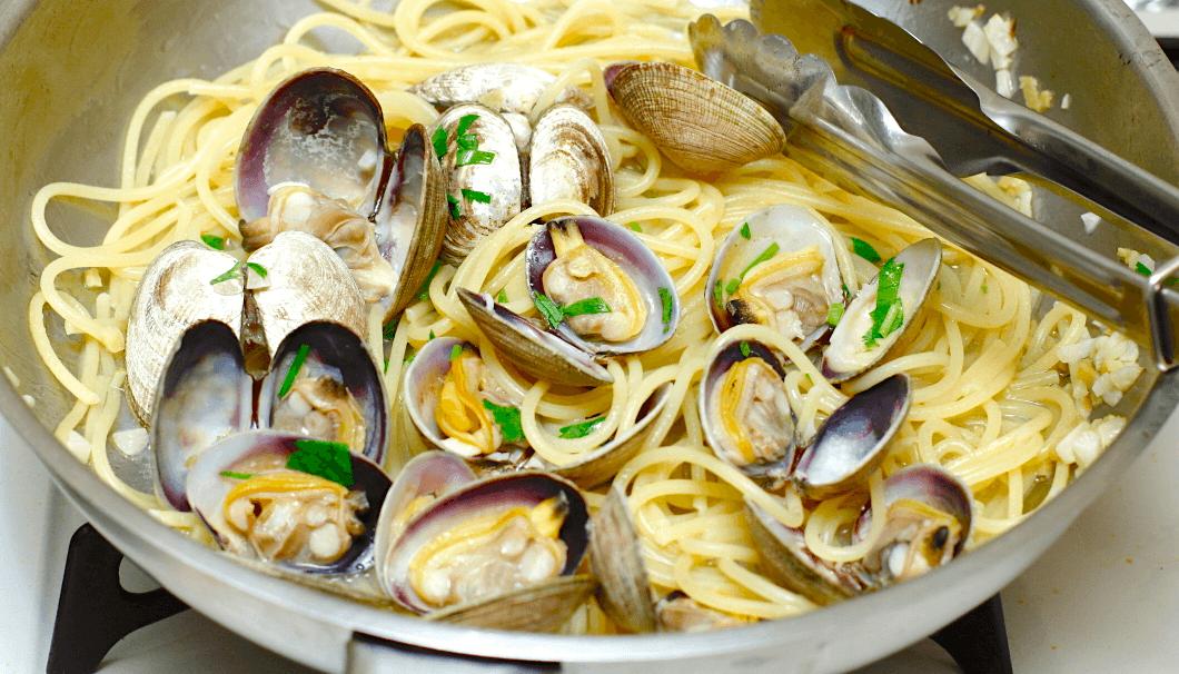 あさりのスパゲッティの料理過程