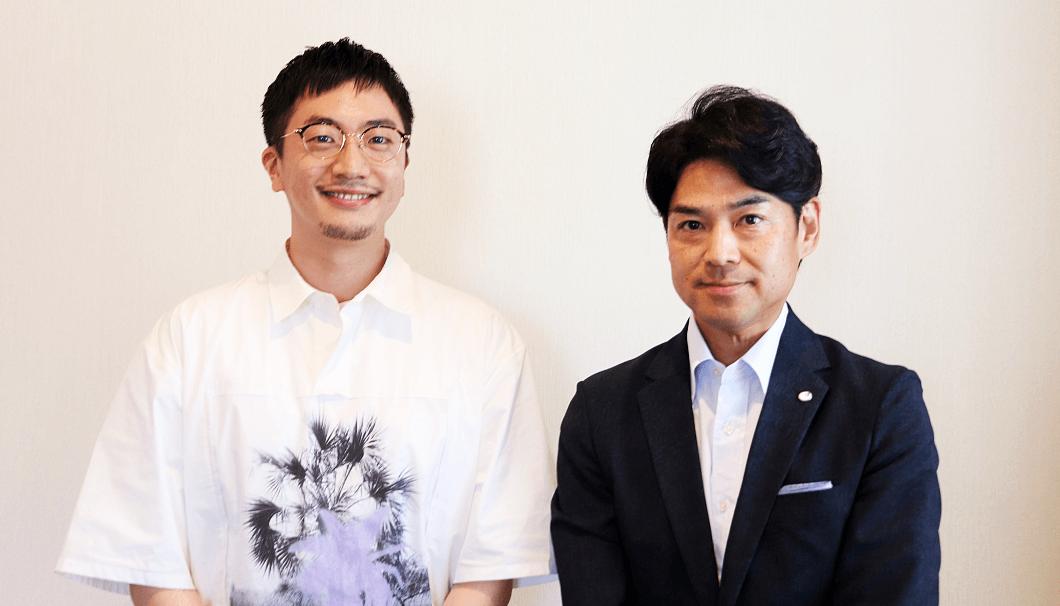白鶴酒造 代表取締役社長の嘉納健二さん(写真右)と株式会社Clear代表の生駒龍史