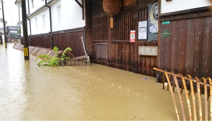 浸水被害を受けた藤井酒造